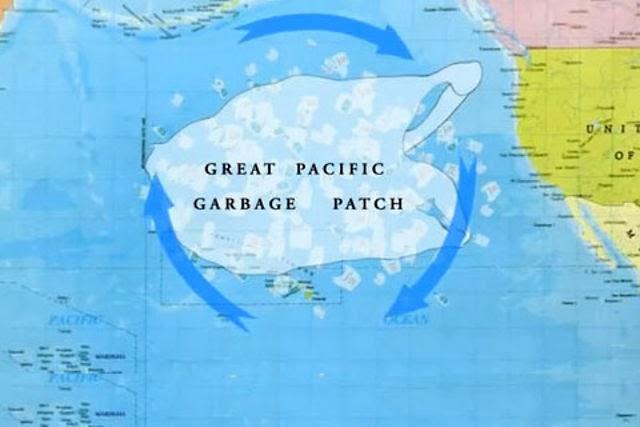 Мусорное пятно на карте Большое тихоокеанское мусорное пятно